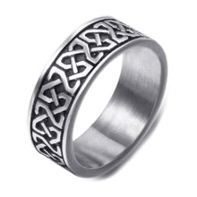 Load image into Gallery viewer, GUNGNEER Stainless Steel Ring Band Stainless Steel Celtic Knot Black Biker Jewelry