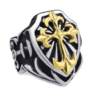 GUNGNEER Stainless Steel Gold Knights Templar Cross Ring with Curb Chain Bracelet Jewelry Set