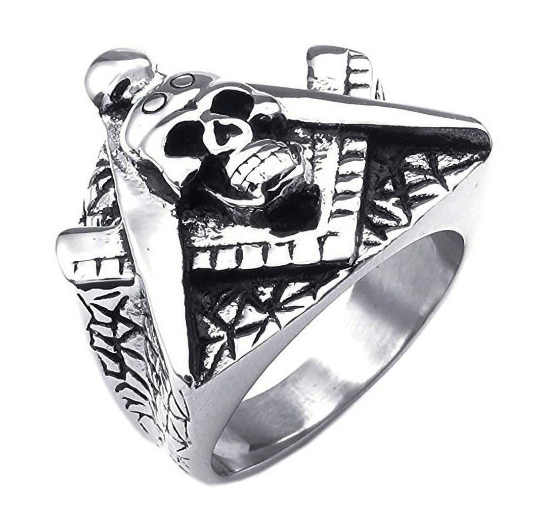 GUNGNEER Skull Masonic Ring Multi-size Stainless Steel Freemasonry Symbol Accessory For Men