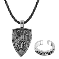GUNGNEER Stainless Steel The Archangel St Michael Necklace Biker Ring Protection Jewelry Set