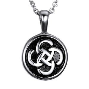GUNGNEER Stainless Steel Cylinder Celtic knot Circle Round Pendant Necklace Jewelry Men Women