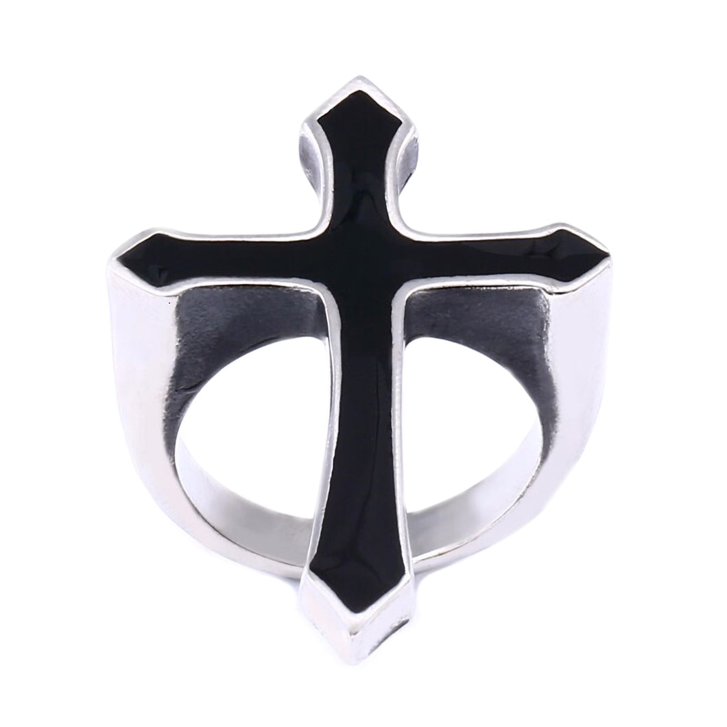 GUNGNEER Stainless Steel Cross Jesus Ring Protection Jewelry Accessory For Men Women