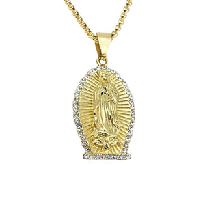 GUNGNEER Religious Iced Out Virgin Mary Mother of Jesus Pendant Necklace Christian Jewelry