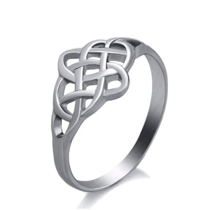 GUNGNEER Irish Pattern Classic Celtic Knot Trinity Stainless Steel Ring Jewelry Gift Men Women