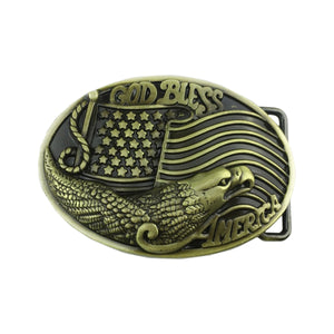 GUNGNEER Men Goldtone God Bless America Eagle Belt Buckle Patriotic Jewelry Accessories