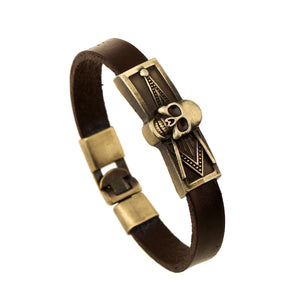 GUNGNEER Skull Mason Bracelet Leather Meaningful Signet Bracelet Jewelry For Men