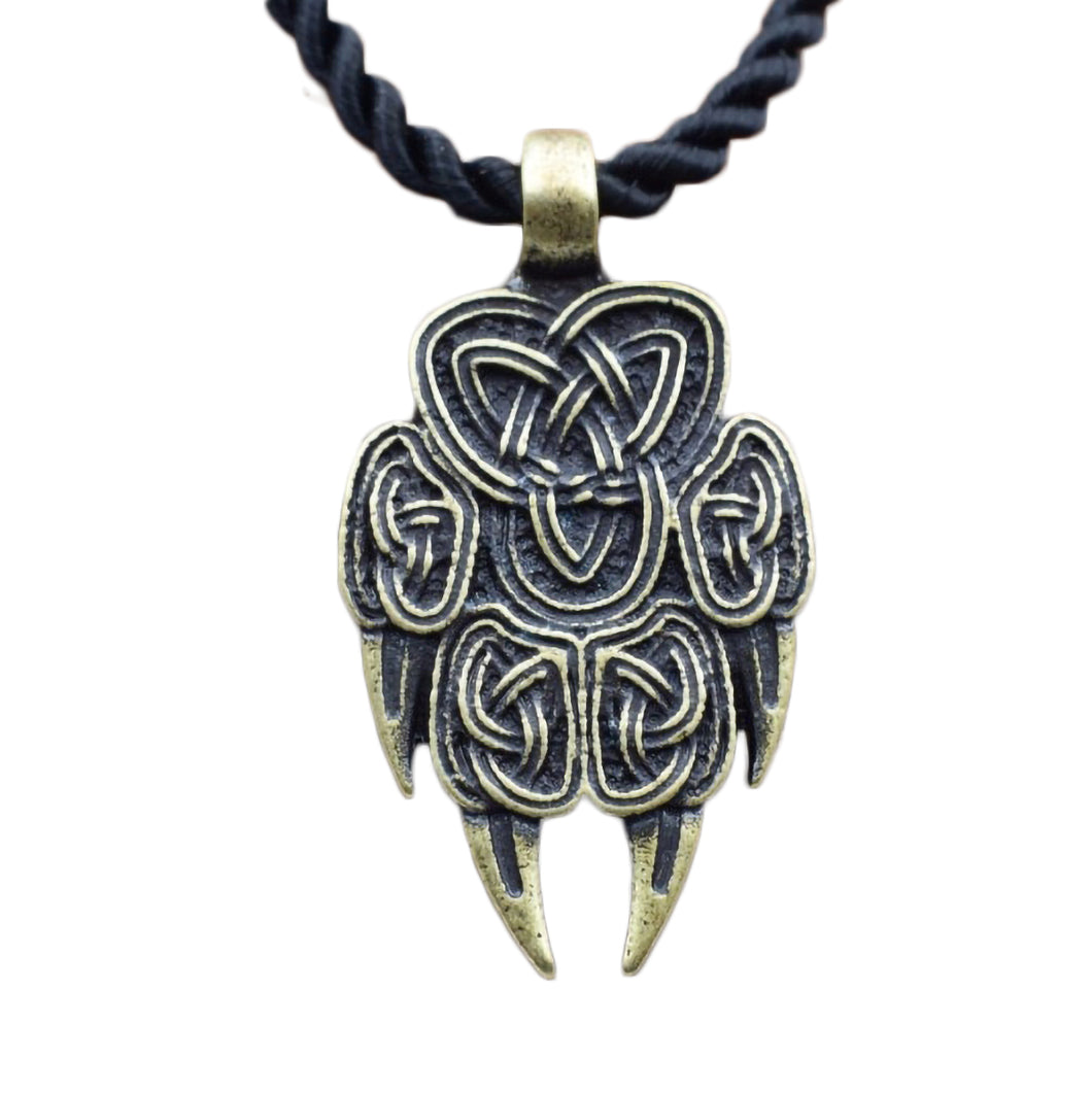 GUNGNEER Celtic Knot Wolf Paw Pendant Necklace Stainless Steel Amulet Jewelry Men Women