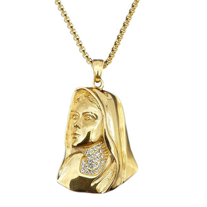 GUNGNEER Stainless Steel Iced Out Crystal Mother Virgin Mary Pendant Necklace Jewelry