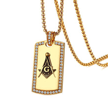Load image into Gallery viewer, GUNGNEER Dog Tag Freemason Pendant Necklace Biker Jewelry Accessory For Men