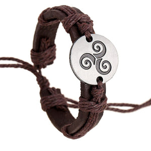GUNGNEER Celtic Triskele Triskelion Stainless Steel Charm Rope Chain Bracelet Jewelry Men Women