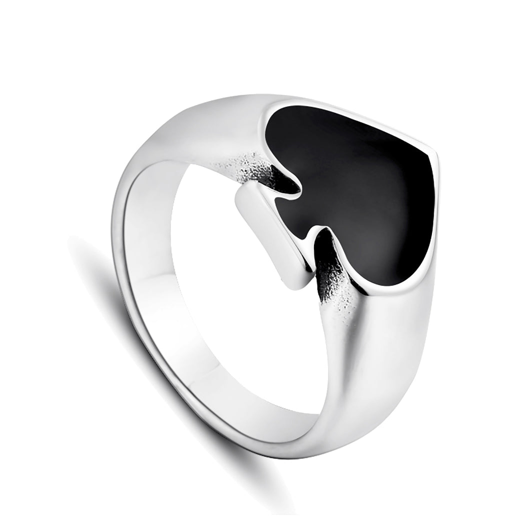 GUNGNEER Stainless Steel Black Cool Spade Lucky Ring Casino Gambling Poker Jewelry Men Women