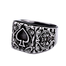 Load image into Gallery viewer, GUNGNEER Stainless Steel Floral Pattern Ace of Spade Ring Poker Casino Gambling Jewelry Men