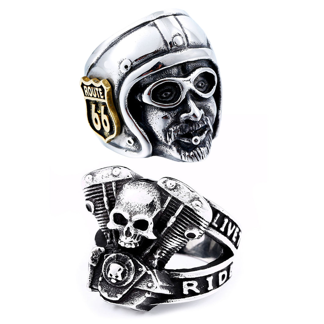 GUNGNEER 2 Pcs Motorcycle Engine Route 66 MC Stainless Steel Biker Ring Jewelry SetMen Women
