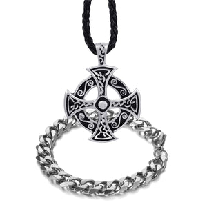 GUNGNEER Celtic Cross Trinity Pendant Necklace with Curb Chain Bracelet Jewelry Set Men Women