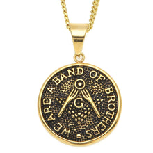 Load image into Gallery viewer, GUNGNEER Freemason Pendant Necklace Band Of Brother Stainless Steel Mason Necklace For Men