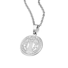 Load image into Gallery viewer, GUNGNEER Saint Benedict Medal Seal Medieval Pendant Necklace with Ring Jewelry Set