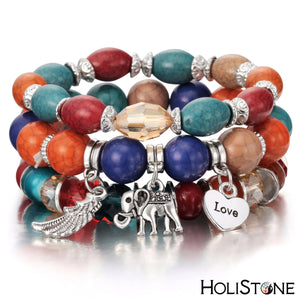 HoliStone Multi Strand Bohemian Style Coral Bead Bracelet with Luck Elephant Love and Wing ? Anxiety Stress Relief Energy Balancing Lucky Charm Bracelet for Women and Men