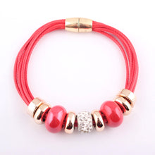 Load image into Gallery viewer, HoliStone Trendy Beaded Leather Bracelet with Magnetic Clasp Lucky Charm for Women and Men