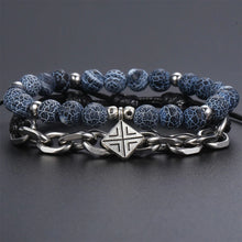 Load image into Gallery viewer, HoliStone Unique Blue Natural Stone with Stylish Stainless Steel Chain Bracelet for Men
