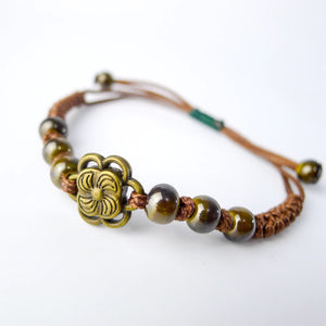 HoliStone Adjustable Handmade Ethnic Boho Style Flower Bracelet Lucky Charm for Women
