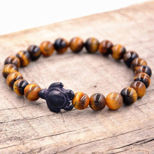 HoliStone Tiger Eye Stone Bracelet with Turtle Lucky Charm for Women and Men ? Anxiety Stress Relief Bracelet Yoga Meditation Empowering Bracelet