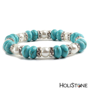 HoliStone Trendy Turquoises Gold Silver Rhinestone Stretch Bracelet ? Yoga Fitness Meditation Lucky Charm Gift for Women and Men