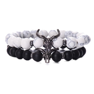 HoliStone Punky Style Black Cattle Skull with Natural Stone Beaded Charm Bracelet ? Anxiety Stress Relief Empowering Bracelet for Women and Men