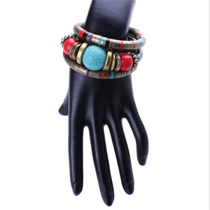 HoliStone Boho Bracelet Multicolor Stretch Lucky Charm Bracelet with Natural Stone for Women and Men