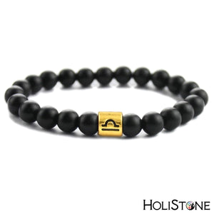 HoliStone 12 Zodiac Signs with Black Stone Bead Bracelet Lucky Charm Gift for Women and Men