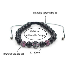 HoliStone Adjustable 8mm Black Onyx Stone Leopard Head Lucky Charm Bracelet for Women and Men