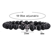 Load image into Gallery viewer, HoliStone Punky Style Black Cattle Skull with Natural Stone Beaded Charm Bracelet ? Anxiety Stress Relief Empowering Bracelet for Women and Men