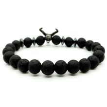 Load image into Gallery viewer, HoliStone Punky Style Lava Stone Beaded Bracelet with Bull Head for Women and Men