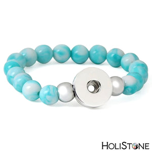 HoliStone Stone Beaded Bracelet with Snap Button ? Anxiety Stress Relief Yoga Meditation Energy Balancing Lucky Charm Bracelet for Women and Men