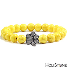 Load image into Gallery viewer, HoliStone Natural Lava Stone with Dog Paw Stretch Bracelet ? Anxiety Stress Diffuser Yoga Meditation Bead Lucky Charm Bracelet for Women and Men