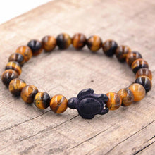 Load image into Gallery viewer, HoliStone Tiger Eye Stone Bracelet with Turtle Lucky Charm for Women and Men ? Anxiety Stress Relief Bracelet Yoga Meditation Empowering Bracelet