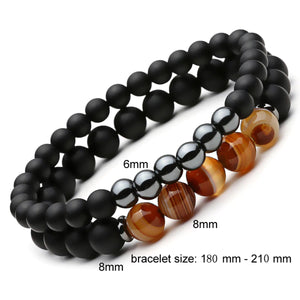 HoliStone 2pcs/Set Natural Stone with Polish CZ Beaded Bracelet Lucky Charm ? Anxiety Stress Relief Yoga Meditation Energy Balancing Bracelet for Women and Men