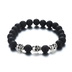 HoliStone Natural Lava Stone with Punky Skull Beaded Bracelet for Women and Men
