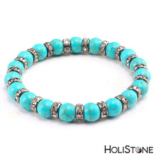 Load image into Gallery viewer, HoliStone Natural Blue Turquoises Stone Bracelet ? Anxiety Stress Relief Yoga Meditation Energy Balancing Lucky Charm Bracelet for Women and Men