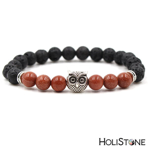 HoliStone Natural Black Lava and Tiger Eye Stone with Owl Bracelet ? Anxiety Relief Yoga Meditation Energy Balancing Lucky Charm for Women and Men