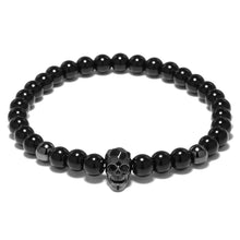 Load image into Gallery viewer, HoliStone Punky Style Skull Charm with Black Onyx Stone Bead Bracelet