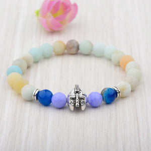 HoliStone Natural Stone with Warrior Helmet Bracelet for Women and Men
