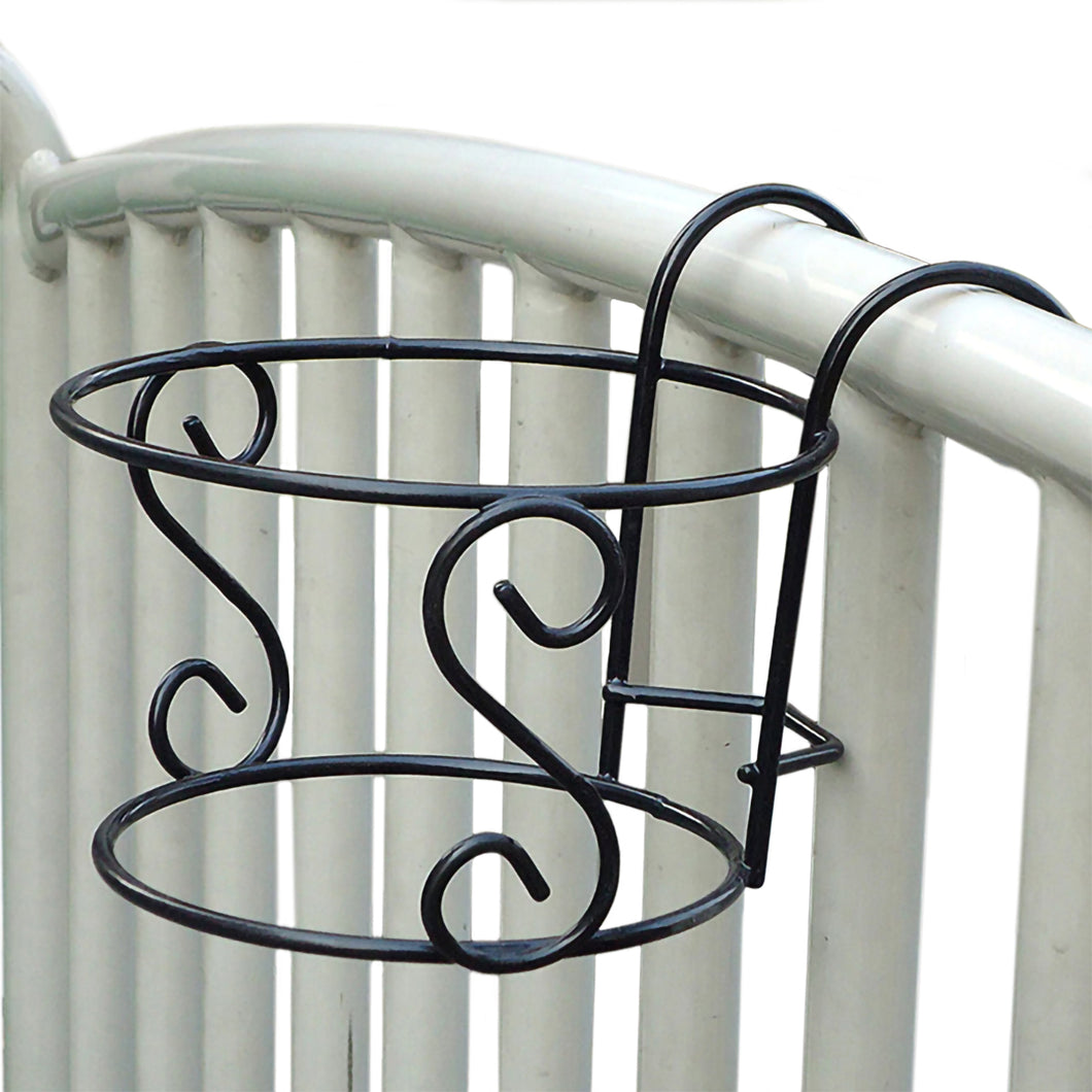 2TRIDENTS Hanging Plant Pot Rack - Decorative Plant Pot Stand Holder - Fence Outdoor, Balcony Decor (Black)