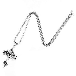 GUNGNEER Stainless Steel Cross Necklace Christian Pendant Jewelry Accessory For Men