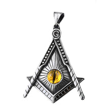 Load image into Gallery viewer, GUNGNEER The All Seeing Eye Masonic Pendant Necklace Leather Stainless Steel Accessories For Men