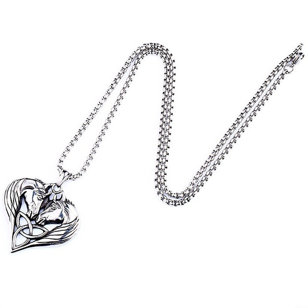 GUNGNEER Double Horse Head Celtic Triquetra Knot Heart Pendant Necklace Stainless Steel Jewelry