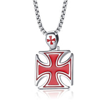 Load image into Gallery viewer, GUNGNEER Cross Necklace Stainless Steel Crusaders Templar Pendant Necklace Bracelet Jewelry Set