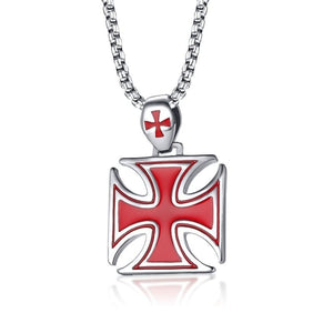 GUNGNEER Cross Necklace Stainless Steel Crusaders Templar Pendant Necklace Bracelet Jewelry Set