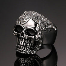 Load image into Gallery viewer, GUNGNEER Ancient Silvertone Skull Head Ring Leather Bracelet Punk Gothic Jewelry Set Men Women