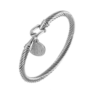 GUNGNEER 2 Pcs Saint Benedict Medal Charm Stainless Steel Bracelets Jewelry Accessories Set