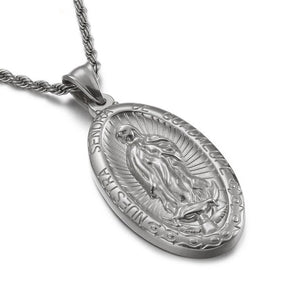 GUNGNEER Saint Benedict Pendant Necklace Twisted Chain with Ring Stainless Steel Jewelry Set